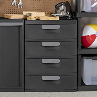 product image for Sterilite 01743V01 4 Unit, Flat Gray with Black Handles and Drawer Interiors, 1-Pack