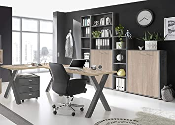möbel-direkt Muebles de Oficina Mister Office en Grafito y Roble ...