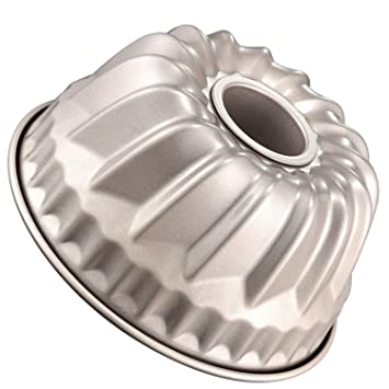 Xelparucoutdoor Molde para tartas de 7 pulgadas, molde Kugelhopf de acero al carbono antiadherente, aprobado por la FDA para hornear (dorado champán), ...