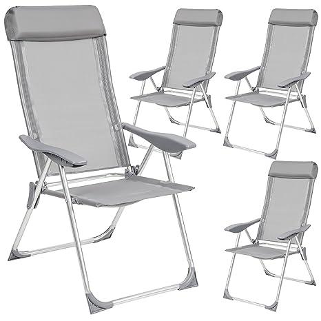 Amazon Sedie Da Giardino In Alluminio.Tectake Set Di 4 Alluminio Sedie Da Giardino Pieghevole Con Braccioli Grigio