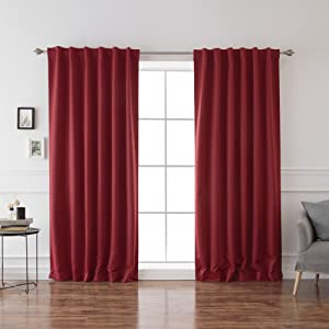 Best Home Fashion Basic Thermal Insulated Blackout Curtains - Back Tab/Rod Pocket - Cardinal Red - 52