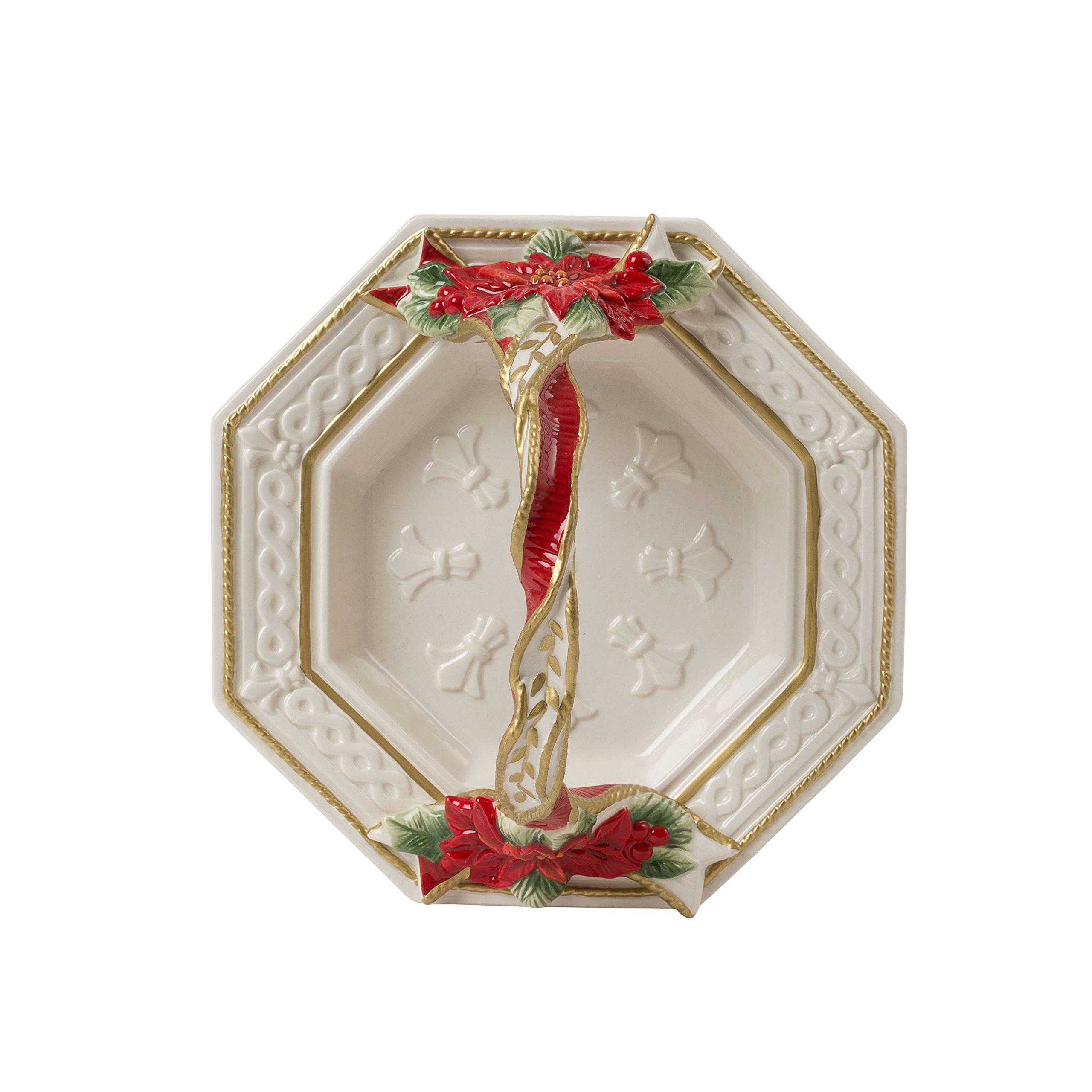 Fitz and Floyd 49-358 Poinsettia Santa Bread Basket, Red White