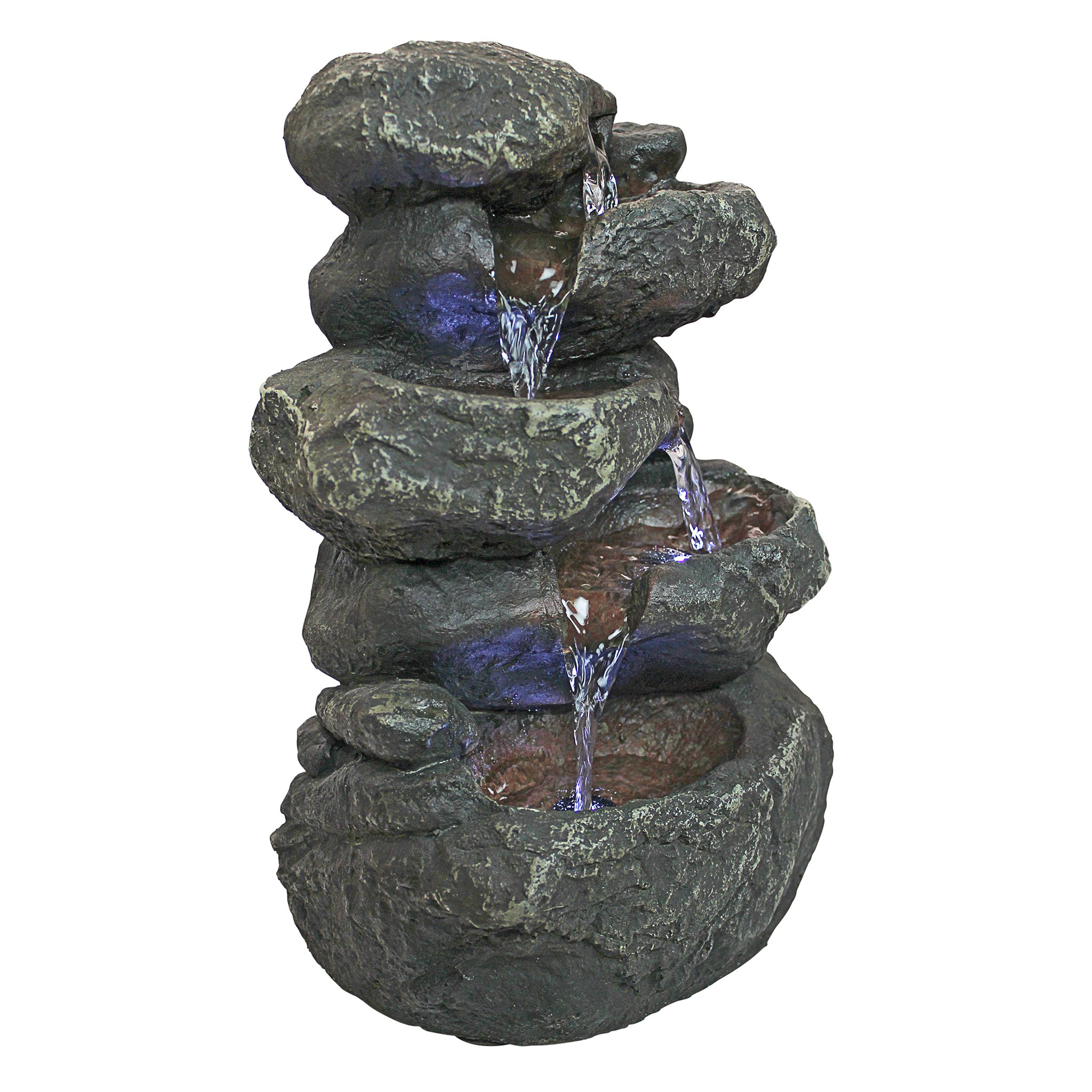 Design Toscano Anchor Falls Rock Garden Decor Tabletop Desk Fountain Water Feature, 11 Inch, Polyresin with LED Lights, Full Color