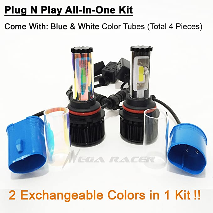 Amazon.com: Mega Racer (2 Color in 1 Set) 9004-HB1 10000K Blue 6000K White (High/Low Beam) CREE COB Xenon LED Kit 8000 Lumen 80W USA: Automotive