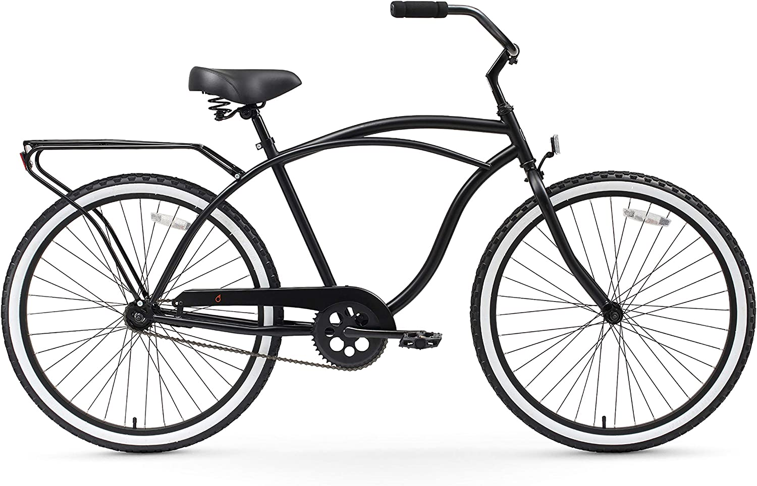 mens black cruiser bike with rear rack