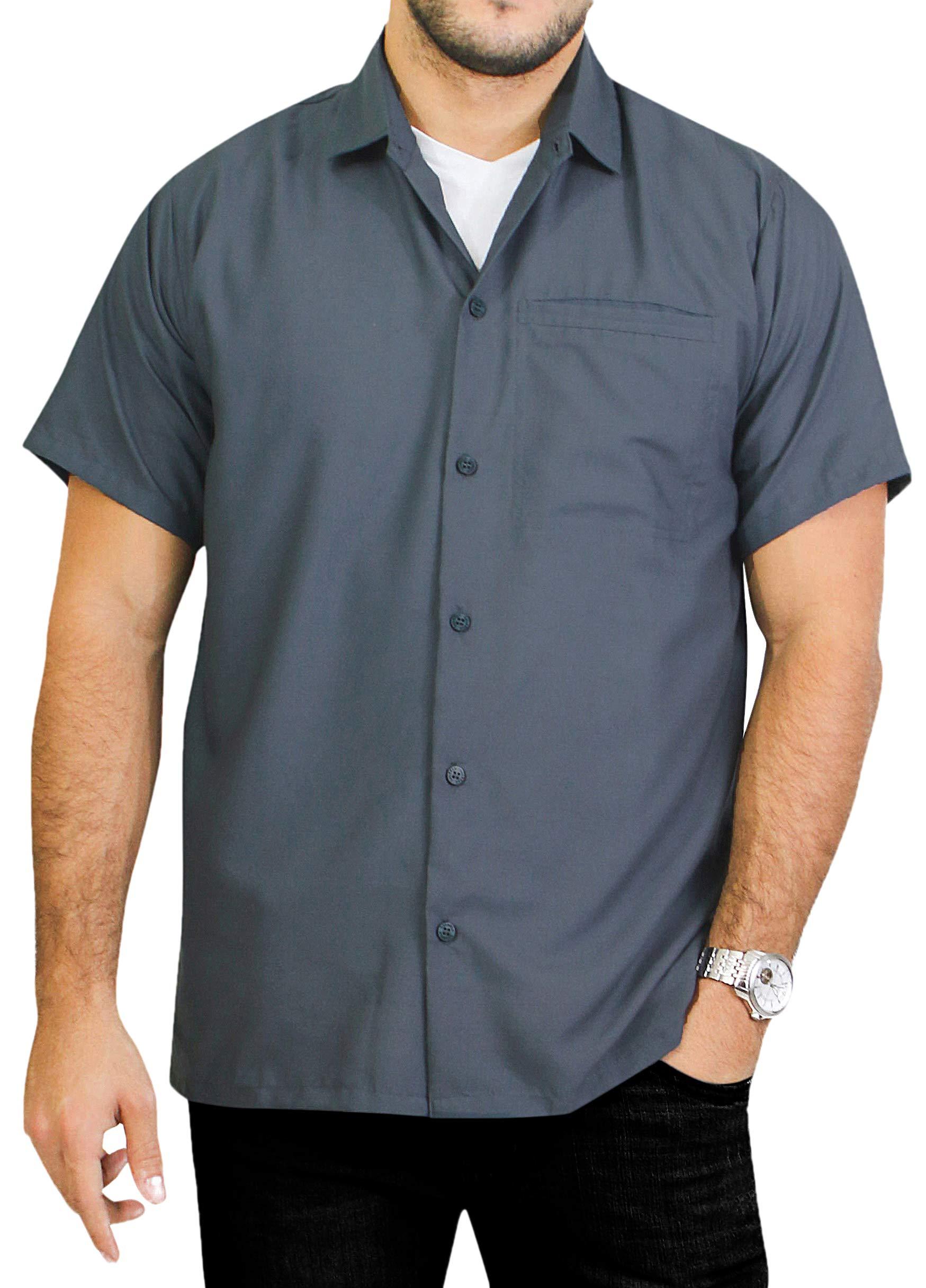 LA LEELA Rayon Casual Solid Plain Camp Shirt Grey 6XL   Chest 68'' -70''