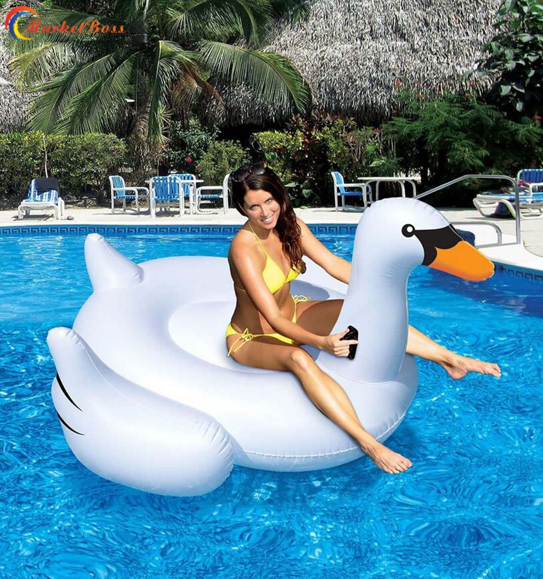 MarketBoss Rideable Giant Inflatable Swan Raft Swimming Pool Float with Energy-saving Handles Adults Kids Summer Fun Pool Toy for Water sports 59''