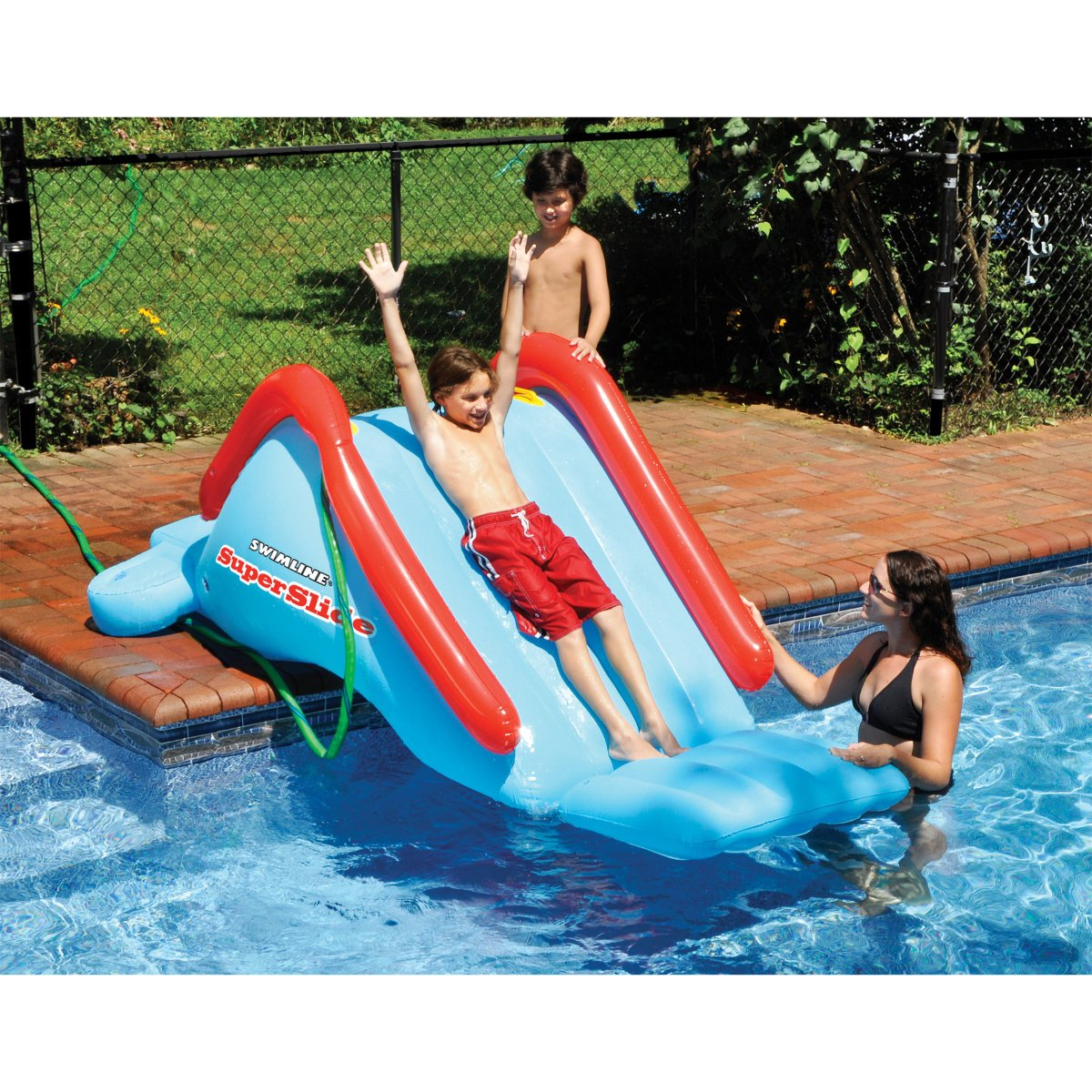 amazoncom superslide inflatable in ground pool water slide by swimline toys games - Diy Above Ground Pool Slide