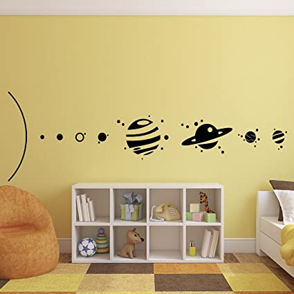 Amazon.com: Solar System Outer Space Planets Vinyl Wall Art Stickers ...