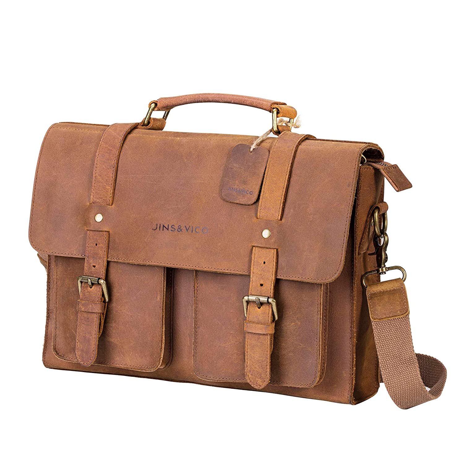 Satchel Leather Messenger Bag Handmade Vintage Small Business Bag Essentials for Laptop iPad Leather Briefcase for Men and Women Crossbody Khaki