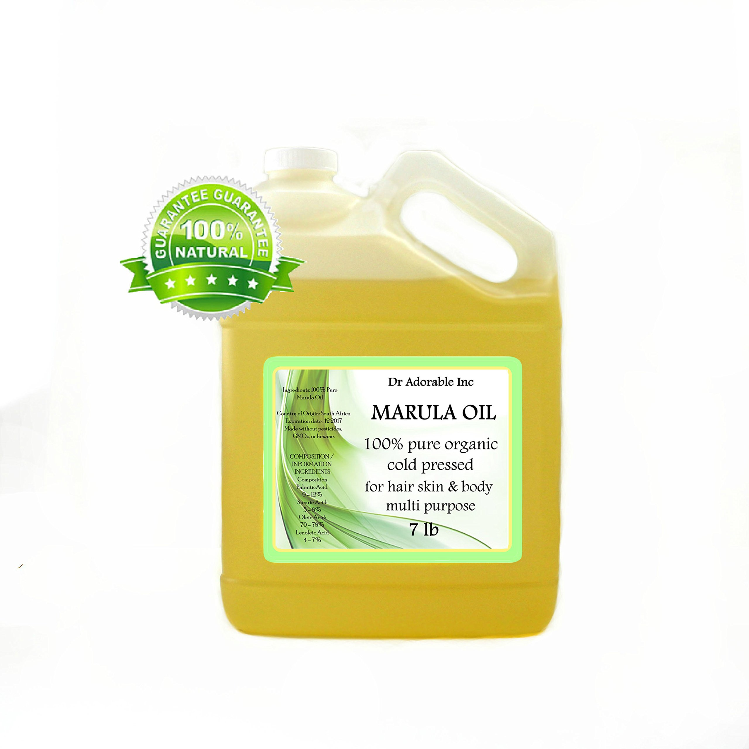 MARULA CARRIER OIL BY DR.ADORABLE 100% PURE ORGANIC COLD PRESSED 128 oz/1 GALLON/7 LB by Dr Adorable