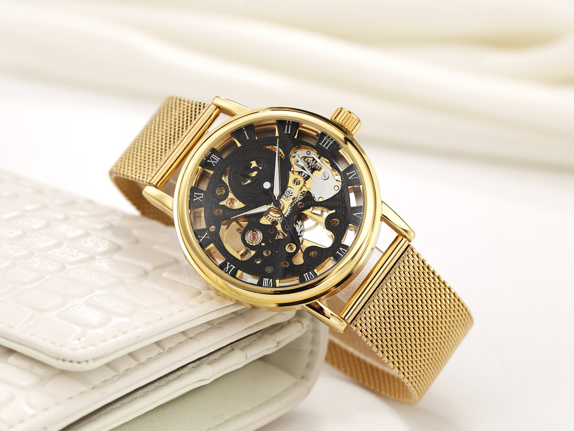 SEWOR Dress Royal Hollow Carving Mechanical Hand Wind Wrist Watch for Man with Mesh Steel Band Slim Design 4
