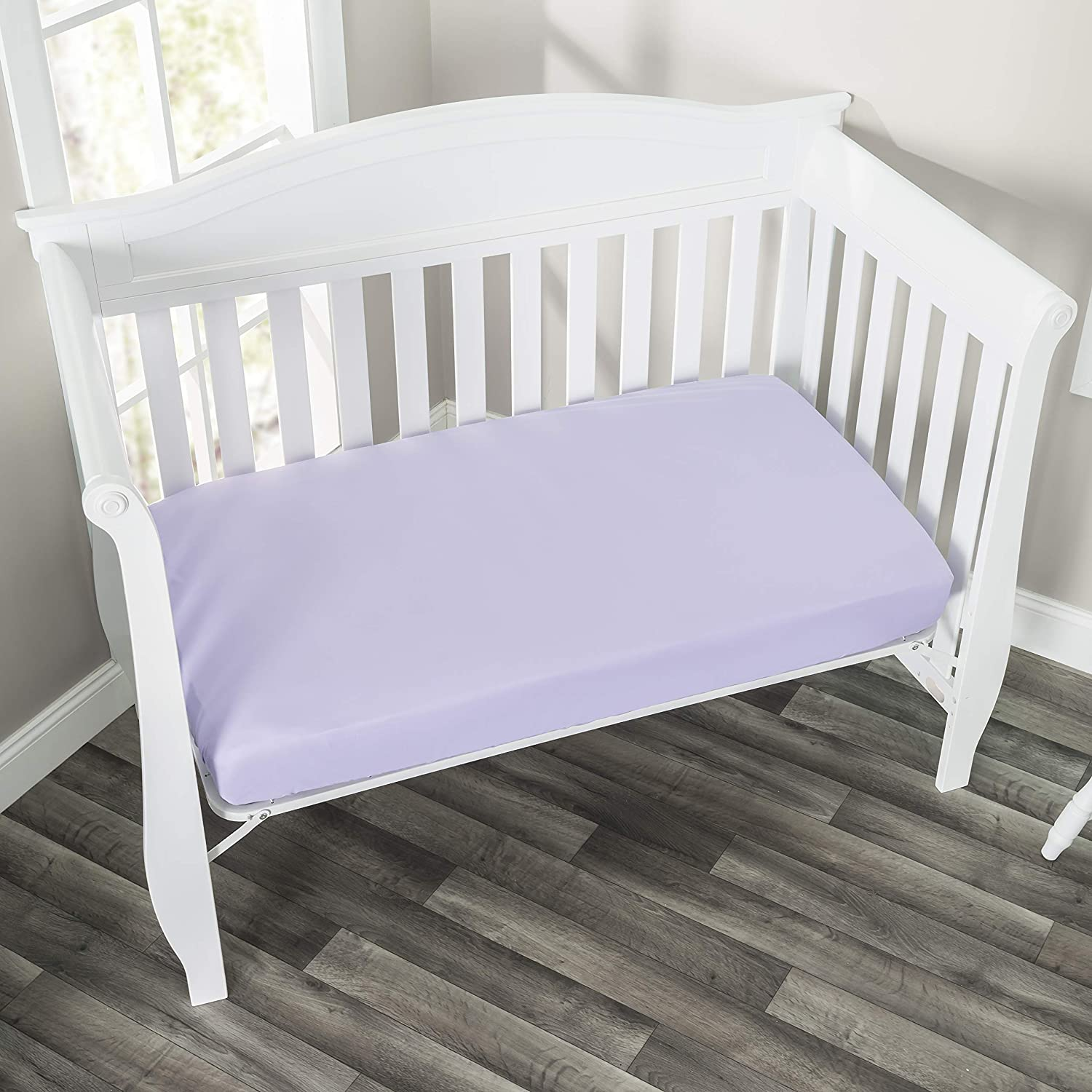 EVERYDAY KIDS Fitted Crib Sheet, 100% Soft Microfiber, Breathable and Hypoallergenic Baby Sheet, Fits Standard Size Crib Mattress 28in x 52in, Purple Nursery Sheet