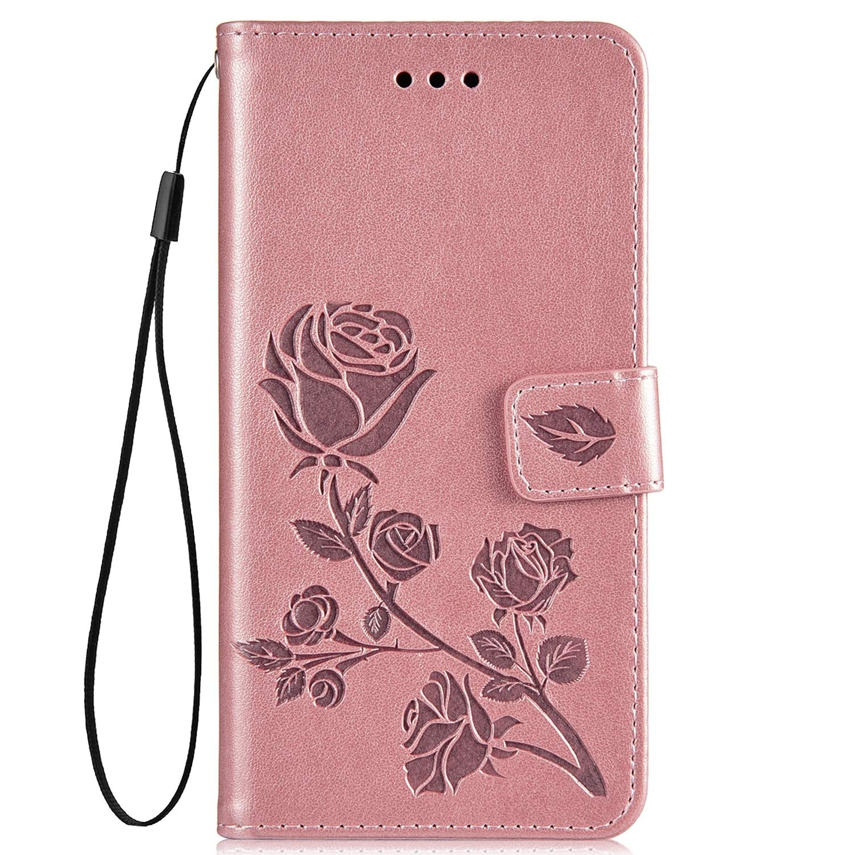 Hpory Coque Compatible avec Xiaomi Redmi 5 Plus Housse Etui en Cuir Coque à Rabat Magnétique Portefeuille Cover Case en Relief Rose Fleurs Pure Color PU Cuir Wallet Case, Vert