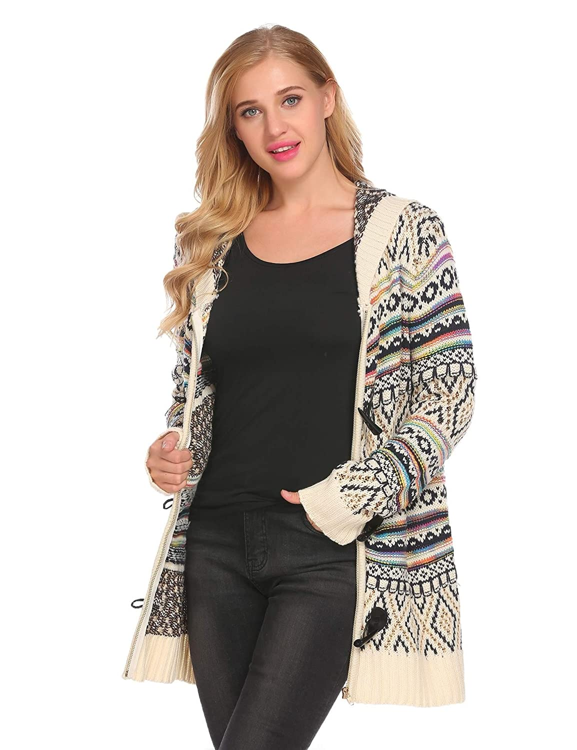 7479b4bf7cf9f6 Mofavor Womens Sweater Long Sleeve Zipper Knit Chunky Cardigan With Hoodie  at Amazon Women s Clothing store