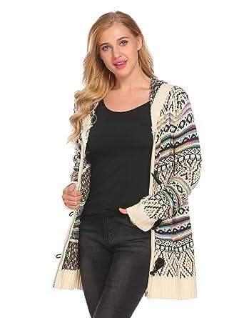 d589fa3aa3 Mofavor Womens Sweater Long Sleeve Zipper Knit Chunky Cardigan With ...