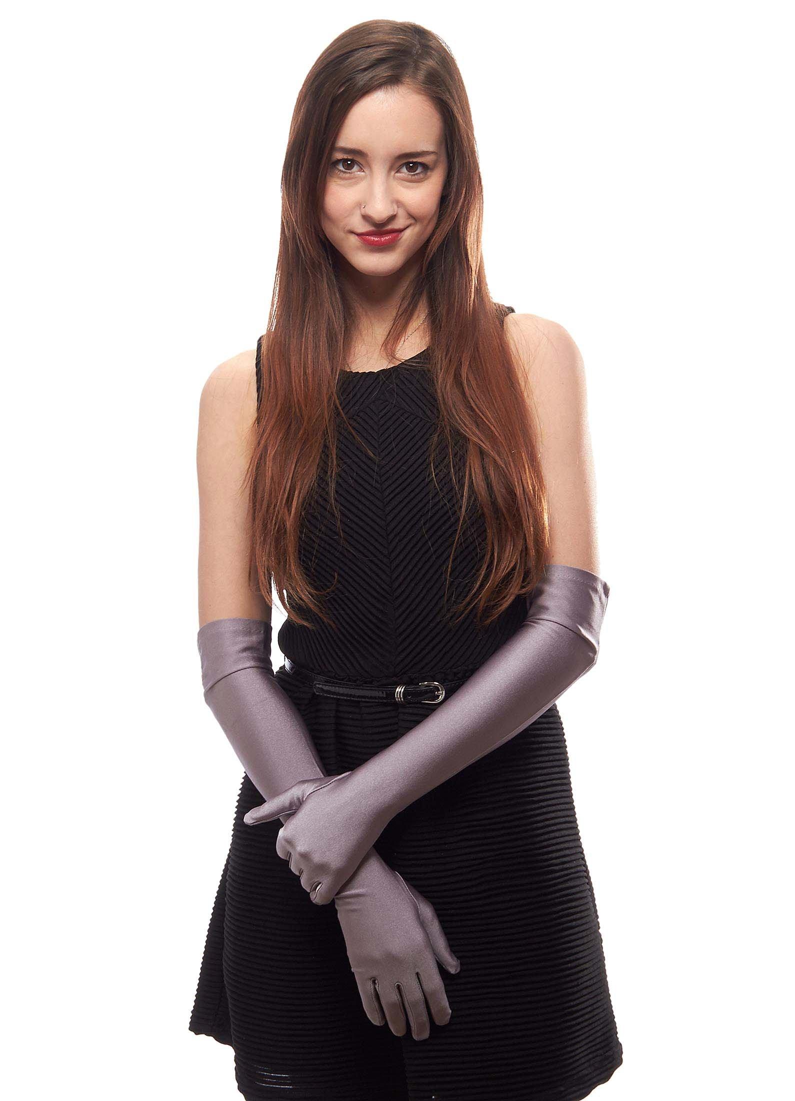 Matte Satin Over Elbow Gloves, Lavender