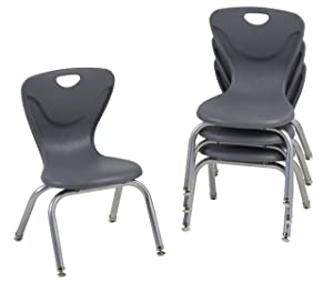 "FDP 12"" Contour School Stacking Student Chair, Ergonomic Molded Seat Shell with Chromed Steel Frame and Swivel Leg Glides; for in-Home Learning or Classroom - Gray (4-Pack)"