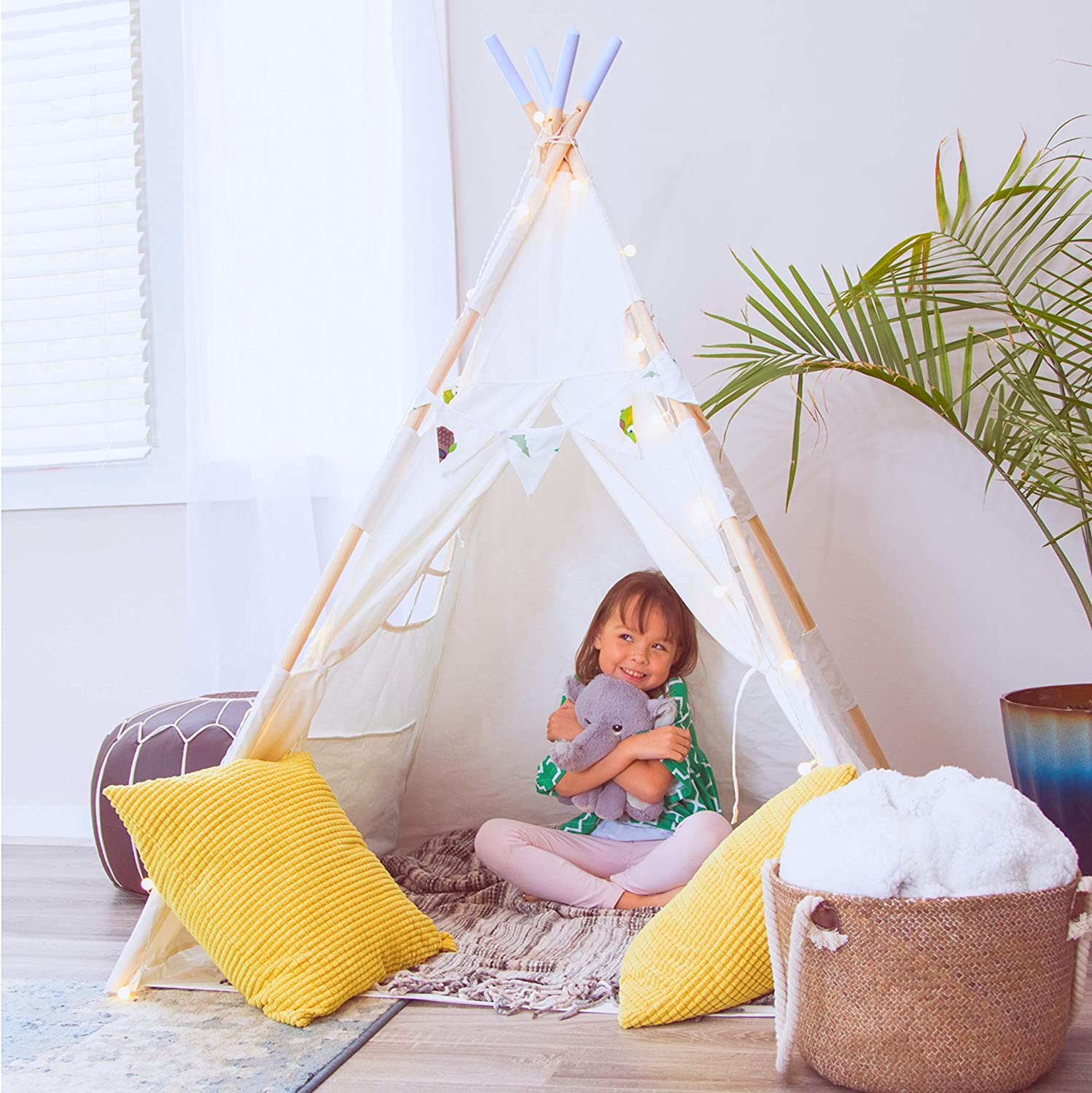 Indoor White Kid Canvas Tepee Playhouse Hill and Gully Teepee Tent for Kids: Extra Large for Baby Teepee Children Play Camping Tee Pee Fort with Lights and Decorations Toddler Teepee Boys Girls