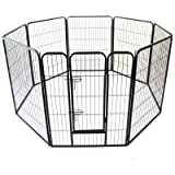 Heavy Duty Pet Dog PlayPen Puppy Exercise Play Pen Fence Enclosure Gate 8 Panels Heavy-Duty Crate Cage (Large 100cm)
