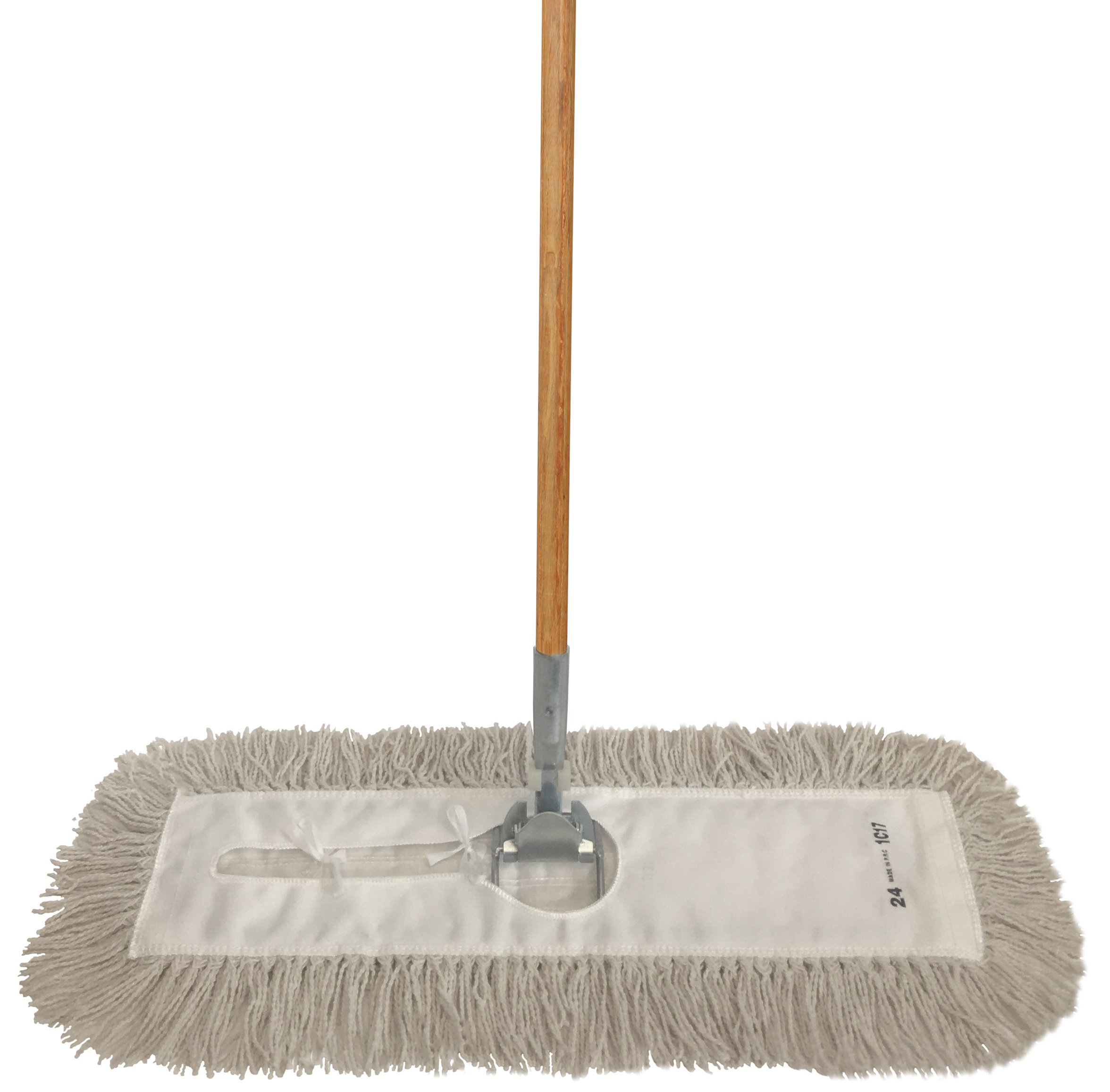 Dust Mop Kit 36'' : (1) 36'' White Industrial Closed-Loop Dust Mop, (1) 36'' Wire Dust Mop Frame & (1) Wood Dust Mop Handle Clip-On Style