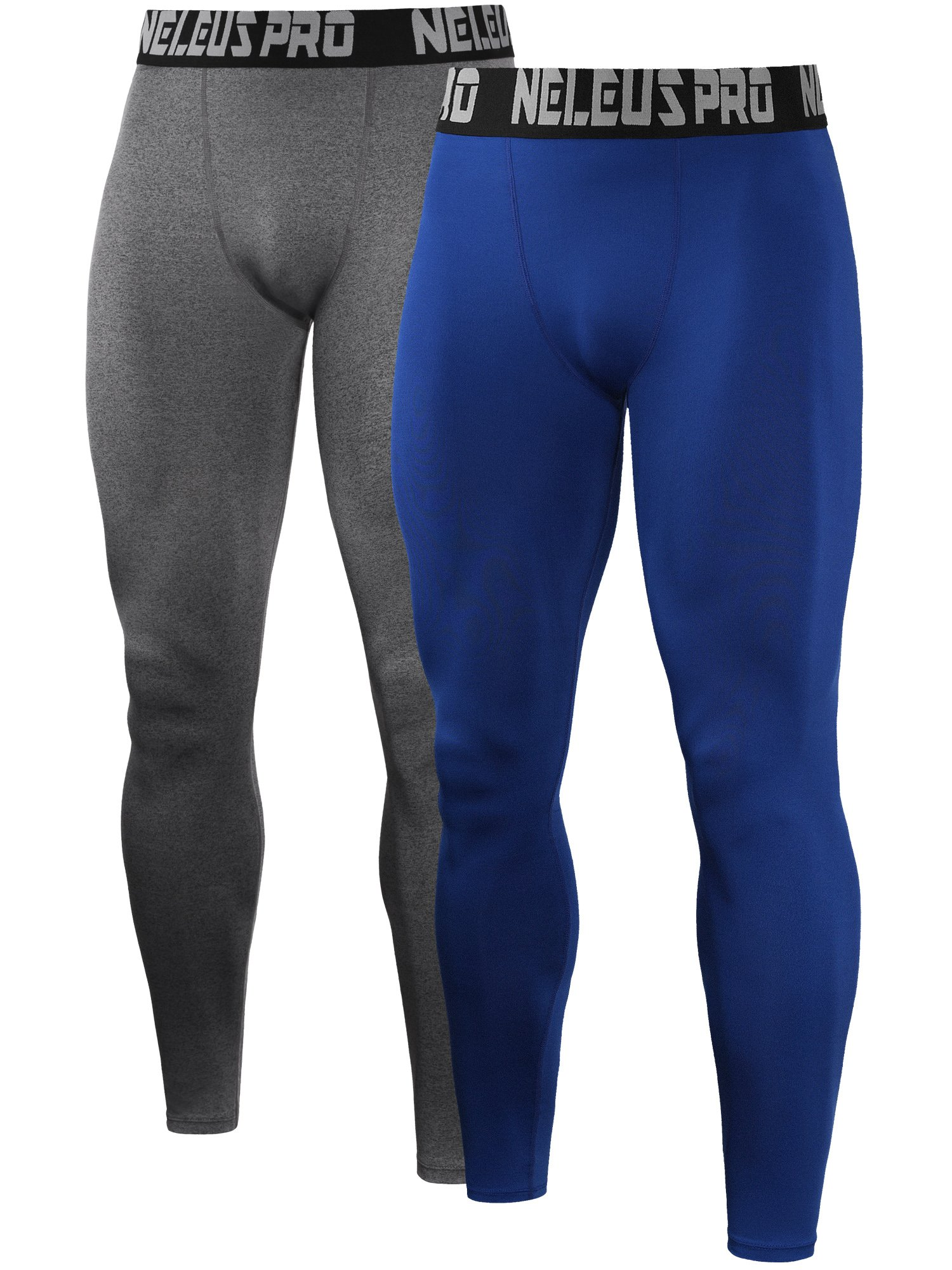 Neleus Men's 2 Pack Compression Tights Sport Running Leggings Pants,6019,Grey,Blue,US S,EU M