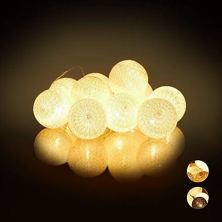 Relaxdays Guirnalda Luces con 10 Bolas LED a Pilas, Algodón-Poliestireno, Blanco, 6 cm de diámetro: Amazon.es: Hogar