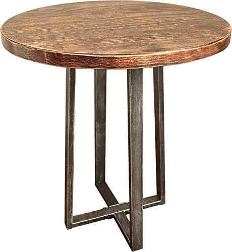 Barnyard Designs Round End Table – Rustic Solid Pine Wood – Decorative Side Table Accent 21.75 x 19.75