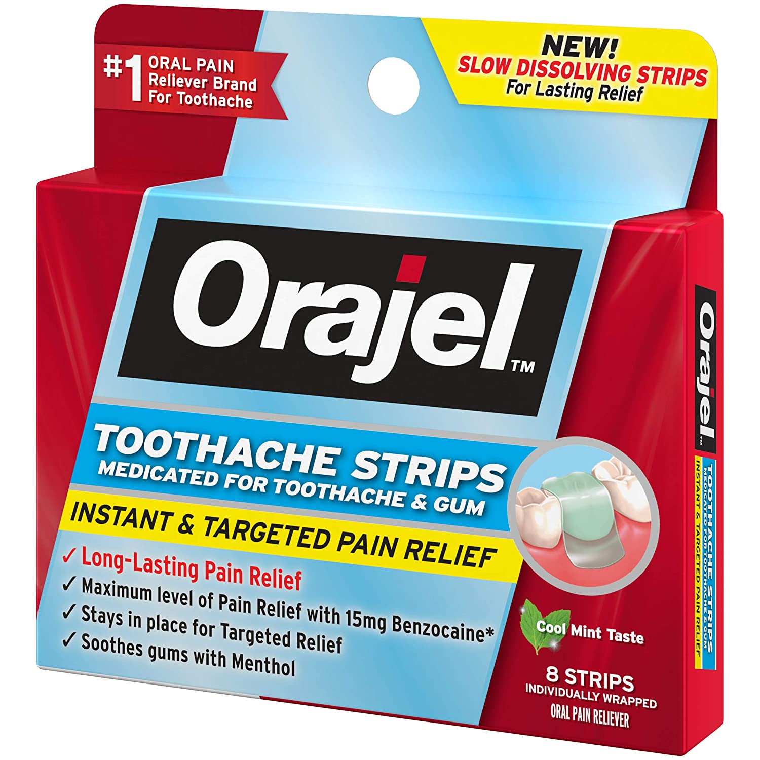 Amazon Com Orajel Medicated Strips For Toothache Gum 8