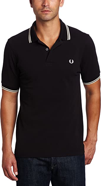 Ladies Twin Tipped Polo Shirt Fred Perry Black Uk 12 Slimmer Fit