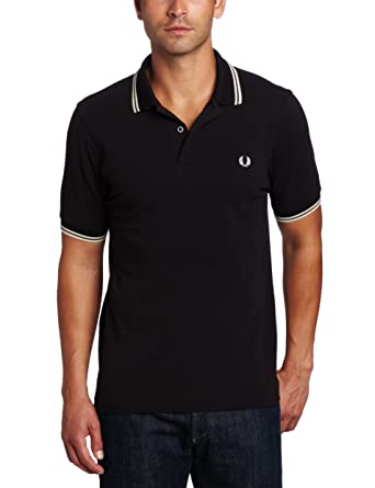 eba41fa33 Fred Perry Men's Twin Tipped Polo Shirt-M3600, Black/Porcelain/Porcelain,