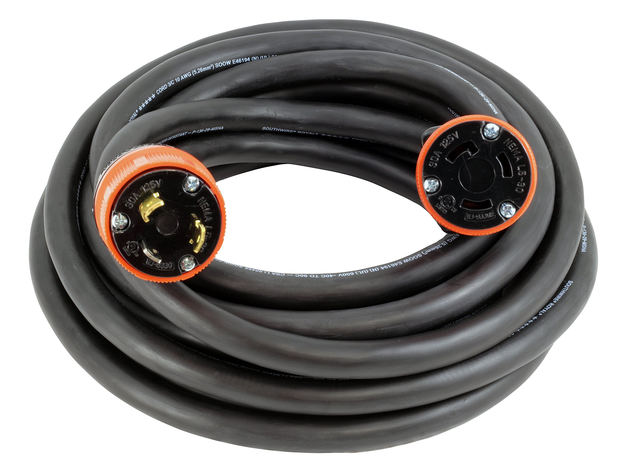AC WORKS [L530PR-075] 75FT 10/3 3-Prong NEMA L5-30 30Amp 125Volt Generator Rubber Extension Cord