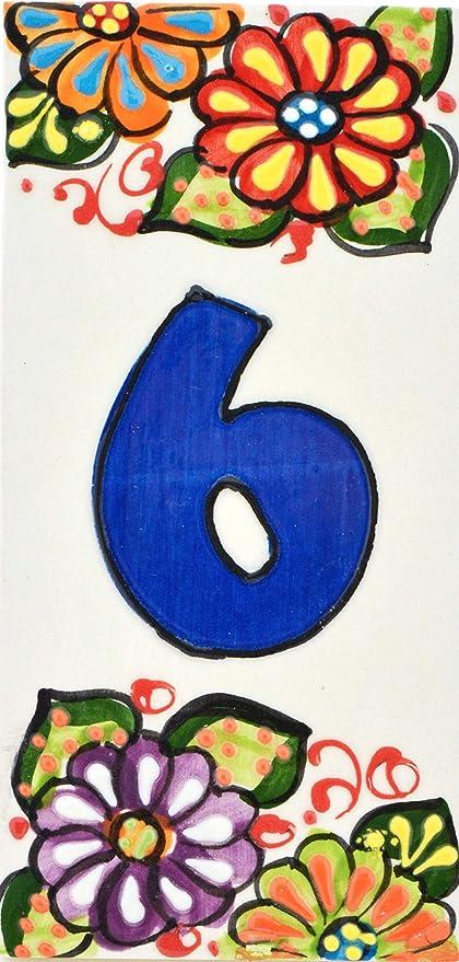 Handgemalte Kordeltechnik fuer Schilder mit Namen Design FLORES MINI 7,3 cm x 3,5 cm Adressen und Wegweisern . Schilder mit Zahlen und Nummern auf Keramikkachel BUCHSTABENU