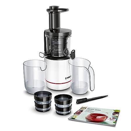 Bosch Slow Juicer MESM500W VitaExtract - Extractor de jugos, 150 W, 2 filtros, 50 RPM, con tecnología de prensado lento, con función antigoteo y ...