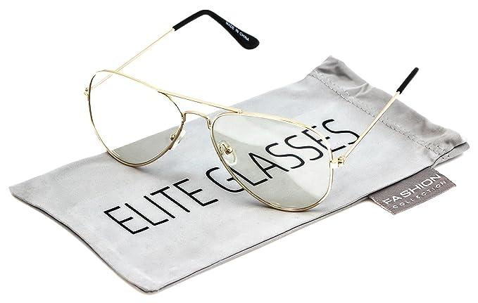 6326b33a69 Elite Classic Vintage Retro Aviator Clear Lens Metal Frame Mens Womens EyeGlasses  Glasses (Gold