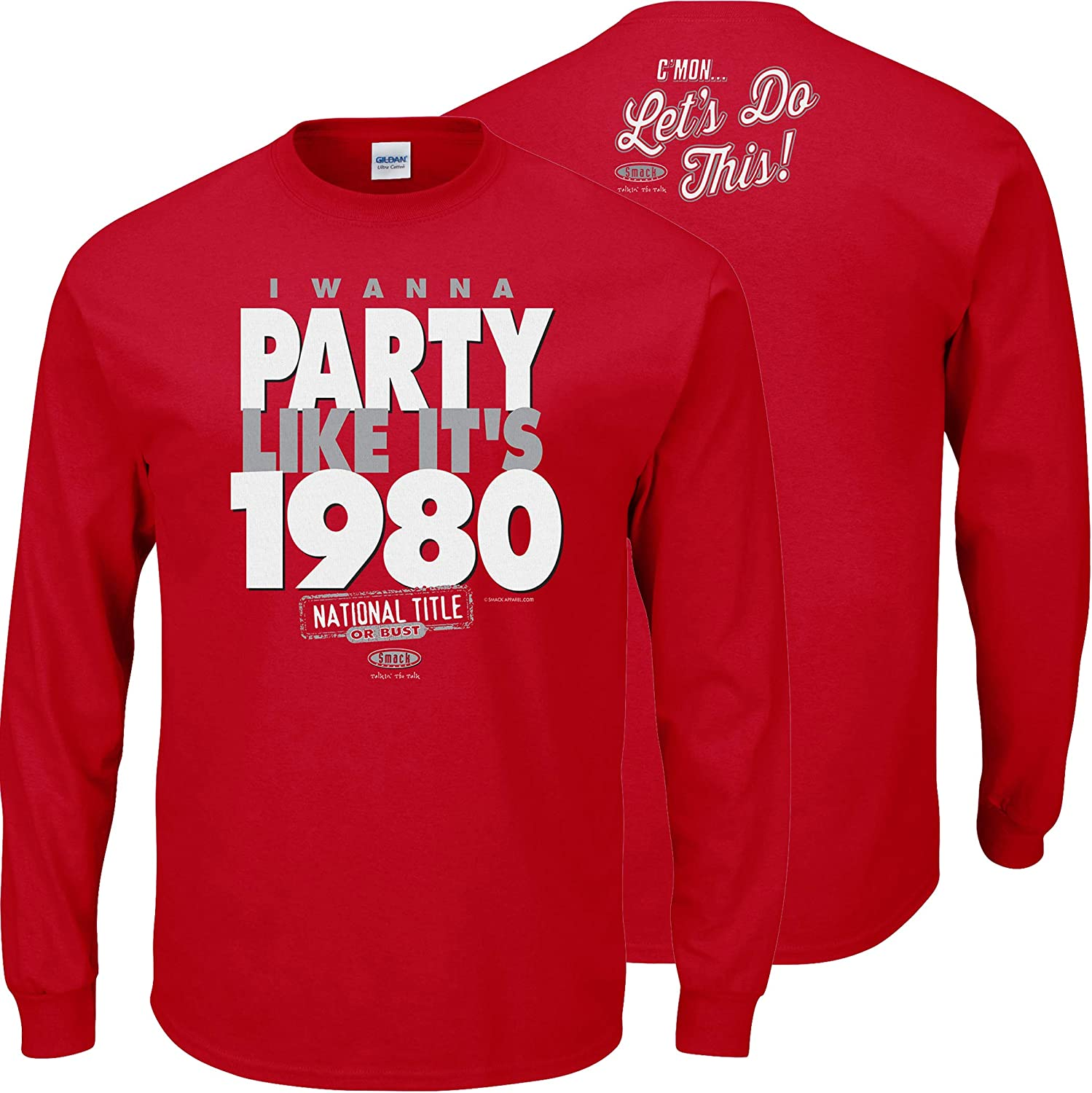 I Wanna Party Like Its 1980 Red T Shirt Smack Apparel Georgia Football Fans Sm-5X