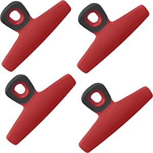 Chip Bag Clips Set of 4 - COOK with COLOR Food Clips, 5 Inches Wide Heavy Duty Chip Clips, Large Bag Clips for Food Storage with Air Tight Seal Grip for Bread Bags, Snack Bags and Food Bags - (Red)