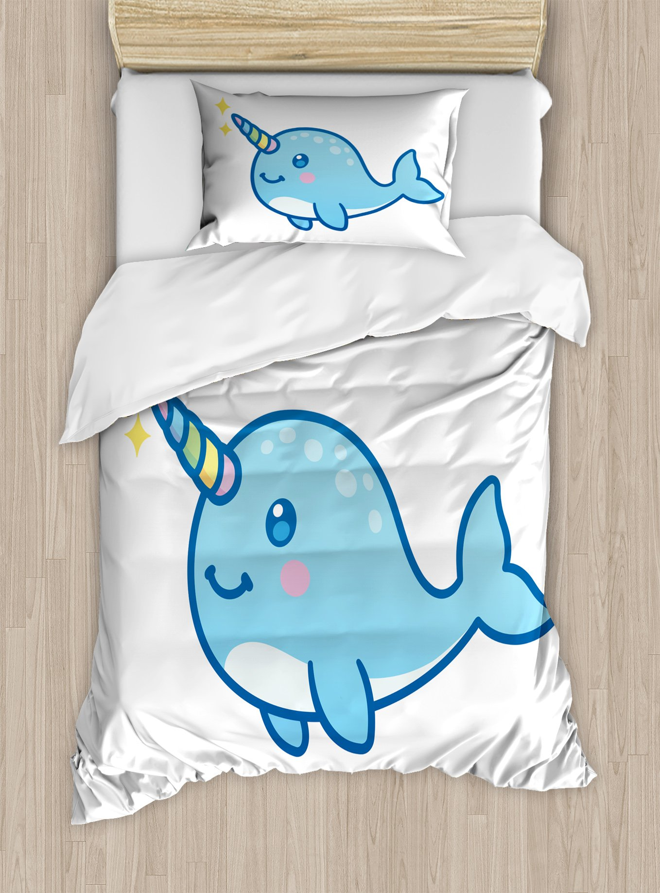 Ambesonne Narwhal Duvet Cover Set Twin Size, Cartoon Drawing Style Whale with Rainbow Horn Unicorn of The Ocean Arctic Animal, Decorative 2 Piece Bedding Set with 1 Pillow Sham, Multicolor