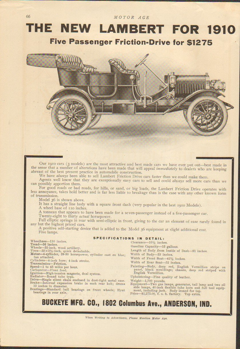 Amazon.com: 1910 Parry Touring Indianapolis IN Auto Ad Lambert Model 36 Anderson IN: Entertainment Collectibles