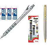 Pentel Graph Gear 1000 Automatic Drafting Pencil with Super Hi-Polymer Lead Refills and Hi-Polymer Block Eraser (0.5mm) (Bundle)