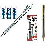 Pentel Graph Gear 1000 Automatic Drafting Pencil with Super Hi-Polymer Lead Refills and Hi-polymer Block Eraser (0.5mm) (Bundle)
