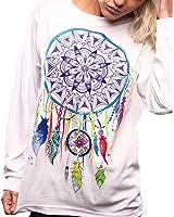 ZANZEA Femme Mode Pull à Manches Longues Chemise Blouse T-shirt Sweat Imprimé Sweatshirt Hauts