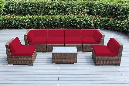 Amazon Com Ohana 7 Piece Outdoor Patio Furniture Sectional