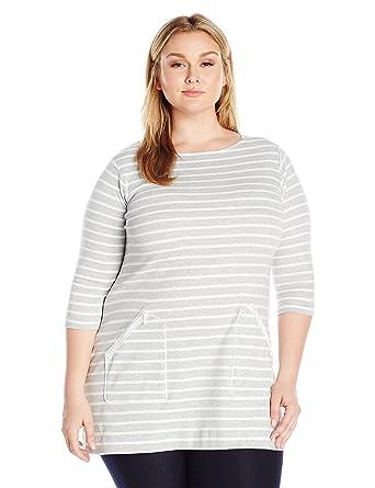 376fcc870a4 Joan Vass Women s Plus Size Stripe Cotton Tunic at Amazon Women s Clothing  store