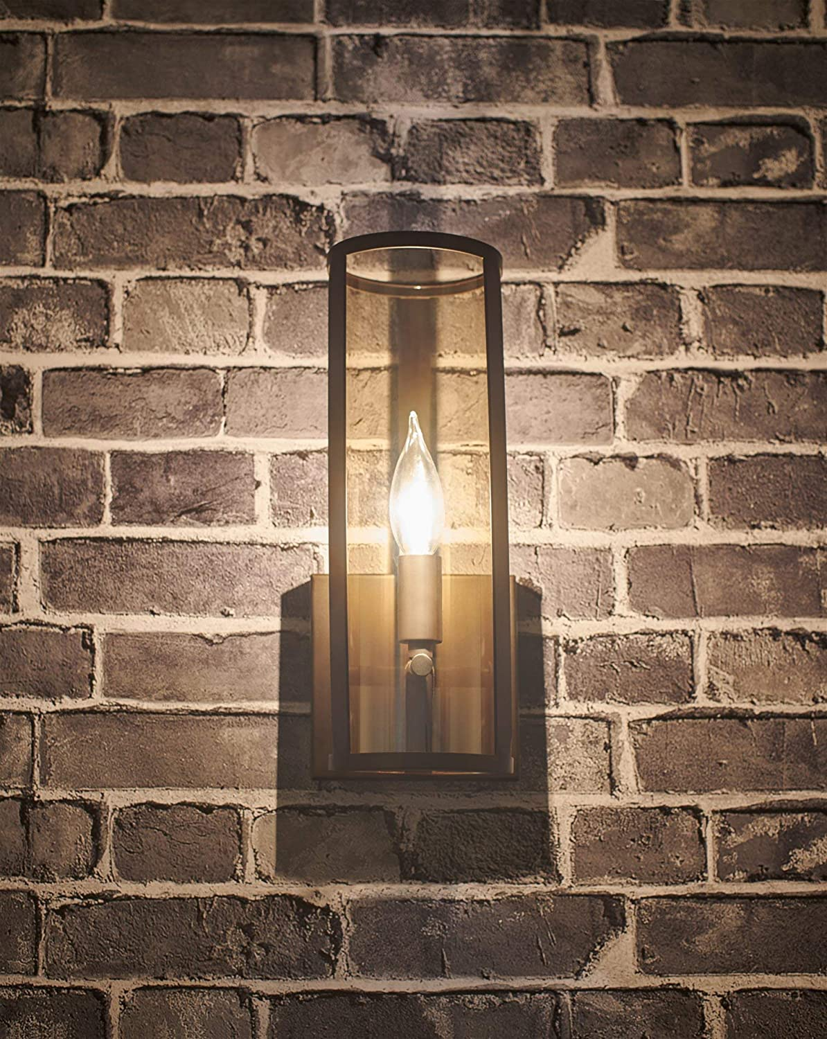Kira Home Cypress 12 Modern Rustic Wall Sconce Wall Light Amber Tinted Cylinder Glass Shade, Oil Rubbed Bronze Finish
