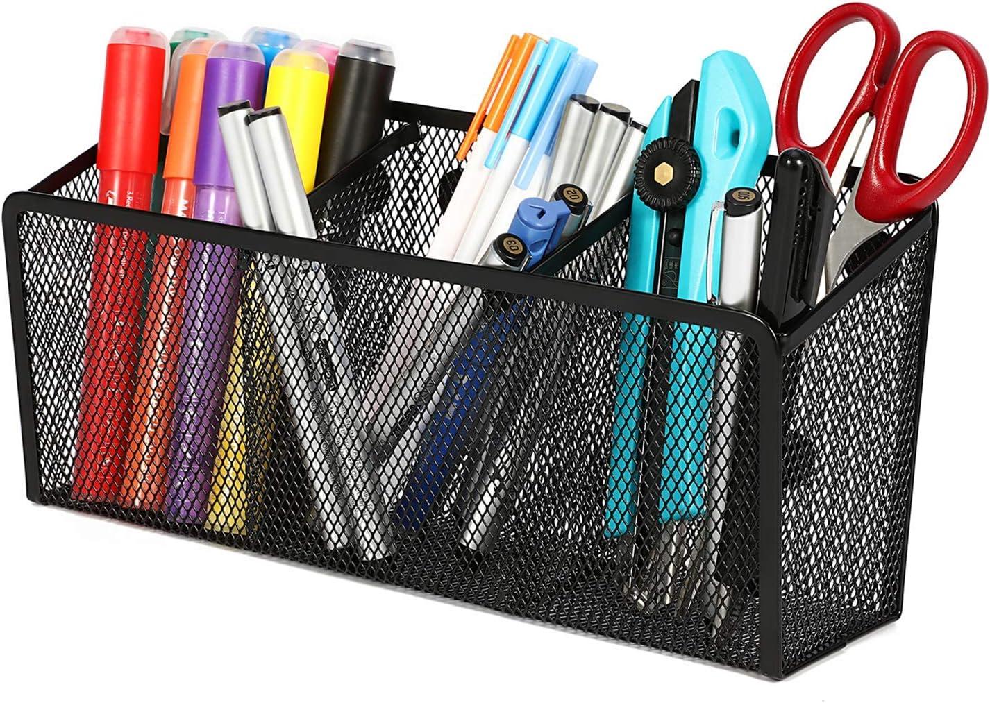 PQZATX Portapenne da 3 Pezzi Porta Matite in Metallo Porta Matite in Metallo Organizzatore per Penne Nero per Portamatite da Ufficio