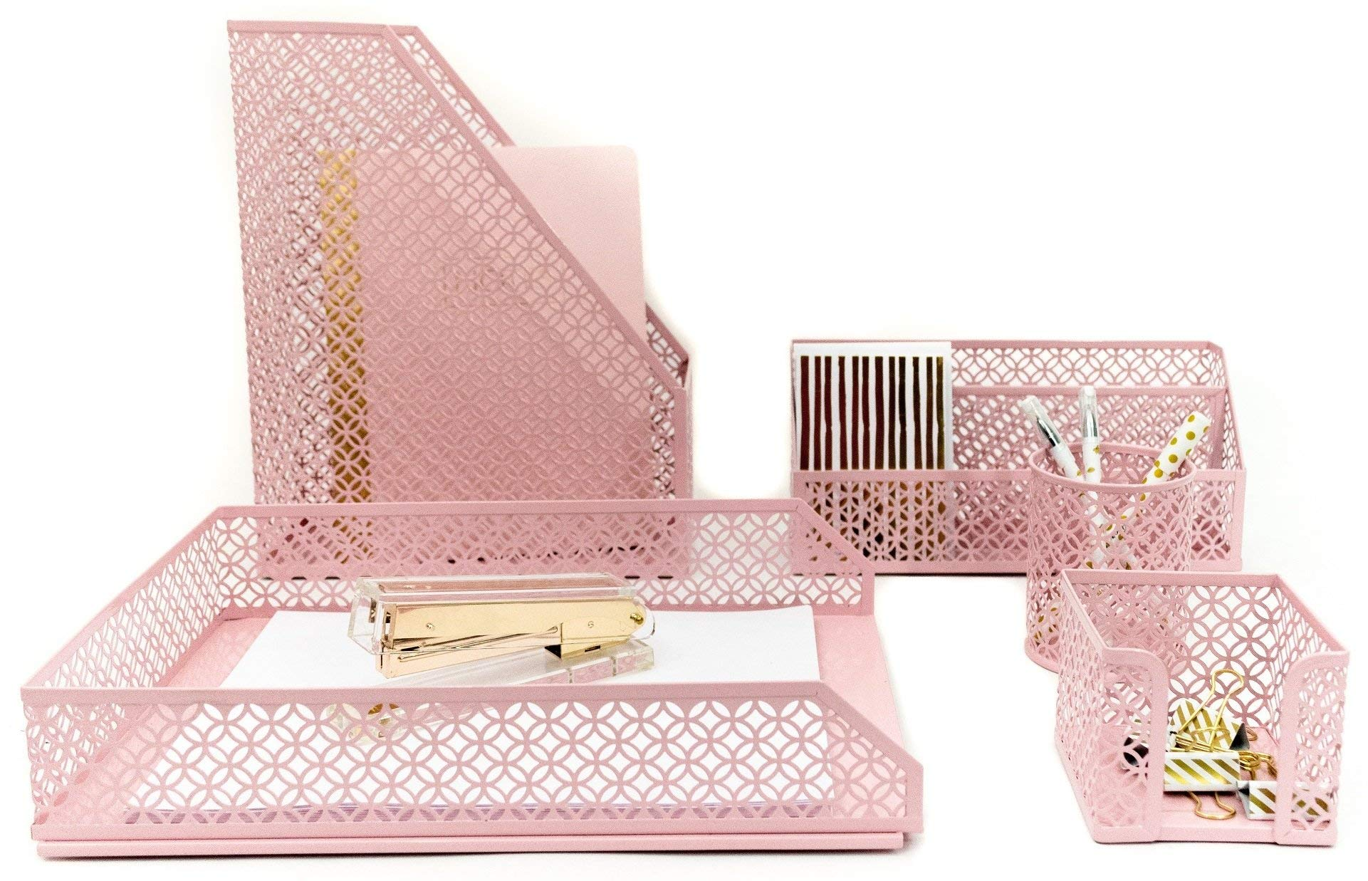 Blu Monaco Office Supplies Pink Desk Accessories for Women-5 Piece Desk Organizer Set-Mail Sorter, Sticky Note Holder, Pen Cup, Magazine Holder, Letter Tray-Pink Room Decor for Women and Teen Girls by Blu Monaco