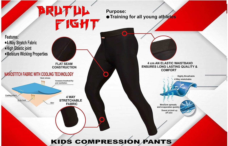 6 Black BRUTUL FIGHT Kids Athletic Spats MMA BJJ Leggings Jiu Jitsu Fight Training Workout Base Layer Compression Pants