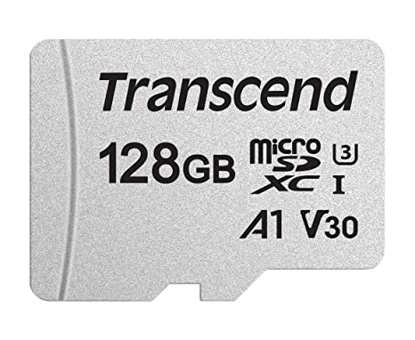 Transcend 128GB microSDXC UHS-I Class 10 U3 V30 A1 Memory Card with Adapter (TS128GUSD300S-A)