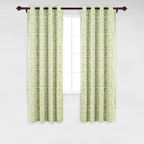 Deconovo Abstract Square Print Grommet Thermal Blackout Window Curtains for Kitchen, 52W x 84L Inch, Green